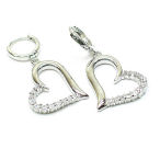 Rhodium  1.5inch drop cz stones 25mm heart