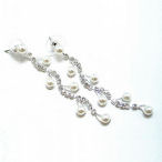Elegant  1 and half inch drop pearl and cz earring