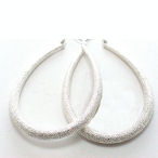 LARGE METALLIC 45MM silver EARRINGS