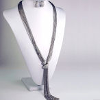 Silver multi chain tassel with clasp necklace 25