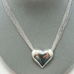 Silver tone heart necklace multi strand Tiffany