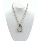 Crystal Paved heart pendant on 3 16.5 inches silver chains with 2inch ext. pend 1.5 inch