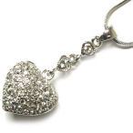 Designer Puff Rhodium  heart 18 inch  with 2 inch drop cluster of cz's