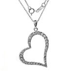 Solid Sterling silver made in Italy 40mm heart with AAA cz's 2.05ct