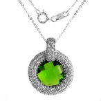 Solid Sterling Silver 18in necklace with 1.22ct of green crystal and clear cz's