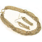 Multi chain gold-tone necklace with matchng earrings