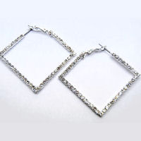 Austrian crystal and rhinestone 40mm hoop 1 and half inch square earring
