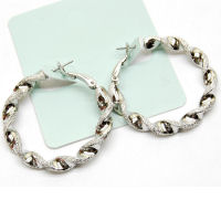 Braided twisted designer hoop rhodium 40mm hoop earring