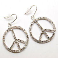 Designer Peace sign crystal rhinestone 1 half inch linear drop