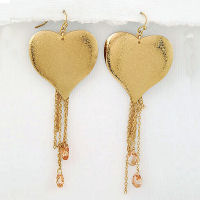 Gold Champagne crystal dangling heart earrings with teardrop stones Hook