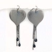 Hematite Black earrings with black teardrop stones 4 inch long