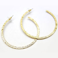 Gold metallic 2 half inch 70mm hoop earrings