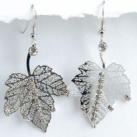 Silver and rhinestone Leaf 2.5inch long earring