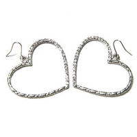 Silver and crystal 38x34mm heart earrings