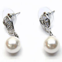 Austrian crystal and white pearl earrings 1 inch