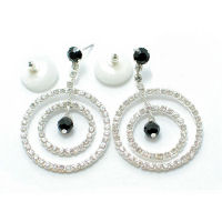 Designer 2 and half inch drop 30mm hoop rhinestone and Austrian crystal earrings