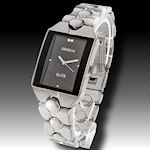 Geneva watch silver HIGH polish black face nice watch! $40