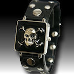 Gothic mens black leather wide band black  enamel SPRING loaded face case HOT watch $47