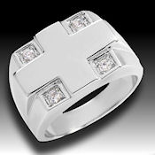 Men's classy sterling silver with .80ctw CZ