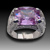 Beautiful Sterling Silver  Rd. pl Amethyst purple center stone