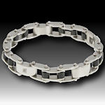 316 Stainless Steel Bracelet with 2 REAL DIAMONDS 9mmW on a 9 in adjustable secure locking clasp