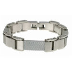 316 Stainless steel with White  Carbon Fiber 9in. 14.5mm wide and this bracelet IS resizable!