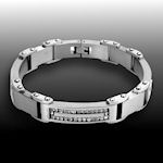 316 Stainless steel High polish and Matte clear stunning  diamonds clasp closure 9inL 15mmW 5mmH