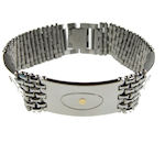 316 Stainless Steel Bracelet with 18k Gold Inlay 8.5inL 18mmW