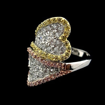 Sterling Silver CHARLES WINSTON collection Rhodium plated Designer wrap around ring showing your style