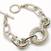 8193 $23  Rhodium plated toggle with rhinestone  7.5 inL 25mm circle
