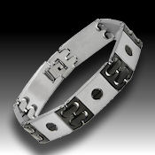 8237 $30 Black stainless steel 55.6g, fold over clasp, 14mm wide 8in long 2.5mm deep