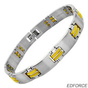 8241 $30 Stainless Steel and Yellow Rubber Bracelet with a fold over clasp, 48g 11mm wide, 9.25 in long, 3mm deep