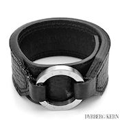 8245 $50 D & K Brolin collection Black leather and stainless steel bracelet, 31g