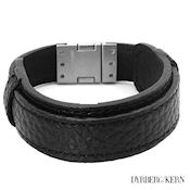 8249 $46 D&K Lexin collection, black Leather and Stainless steel 23.5g 7.5in Long