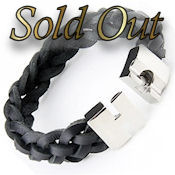 8253 $40 Black leather woven bracelet, magnetic clasp, 8.5in long 16mm wide