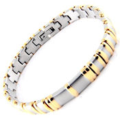 8258 $95 Two tone 316L stainless steel and gold plate, 8.5 long, 9mm wide, fold over clasp