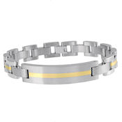 8259 $250 Men's Titanium and 14K bracelet,  Gold plated down the center from  end to end, 34.4grams fold over clasp  8in long  bracelet MSRP $649