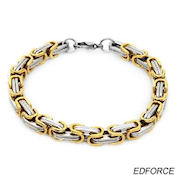 8260 $80 Ed Force Stainless steel and 14k gold plate, 34.5g, 7mm wide, 8.5 long, lobster claw clasp