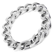 8276 $ 50 316L stainless steel link bracelet, high Polish, 9in long, 15mm wide fold over clasp HOT!