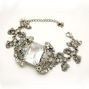 Victorian style  Clear  1.5inch Austrian crystal 9in Long with lobster closure