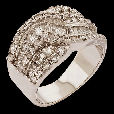 This ladies band is just gorgeous and glitters with CZ's that are cut by masters. Solid Sterling Silver plated with platimum