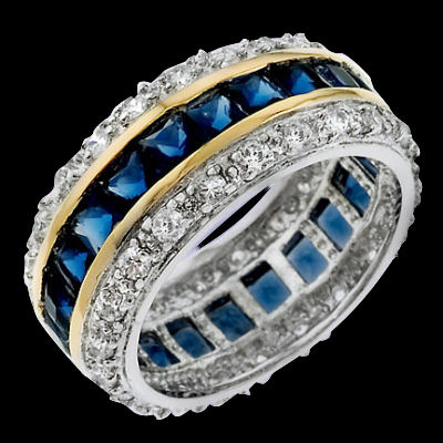 Two tone gold plated SS Sapphire and diamond Eternity band. Glamour and quality best describes this ring