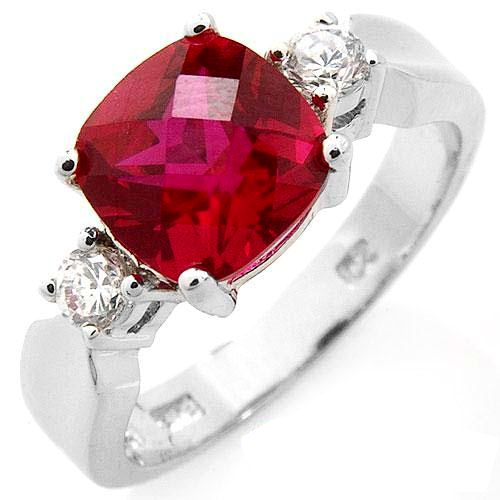 Petite 3.74 ctw CR Ruby and CZ Solid sterling silver